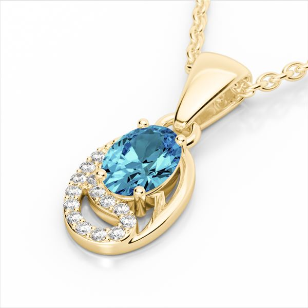 1.25 ctw Sky Blue Topaz & Micro Pave Diamond Necklace 10k Yellow Gold - REF-18A4N