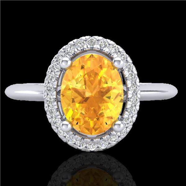 1.75 ctw Citrine & Micro VS/SI Diamond Ring Halo 18k White Gold - REF-32H8R