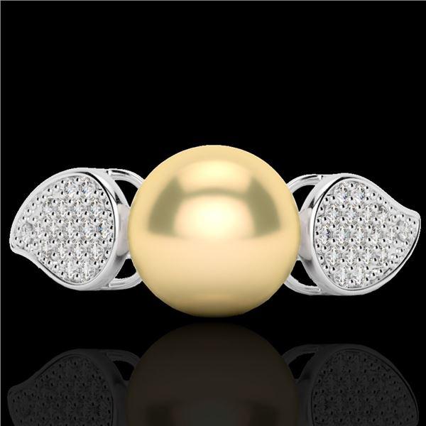 0.27 ctw Micro Pave VS/SI Diamond & Golden Pearl Ring 18k White Gold - REF-38M2G
