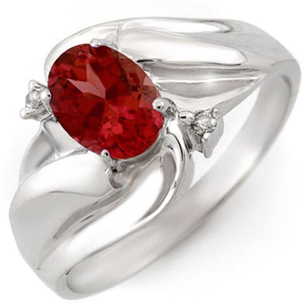1.02 ctw Pink Tourmaline & Diamond Ring 10k White Gold - REF-17Y8X