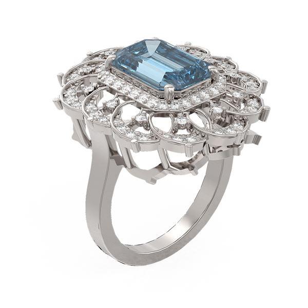 5.33 ctw Blue Topaz & Diamond Ring 18K White Gold - REF-140W9H