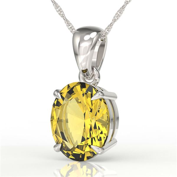 2.5 ctw Citrine Designer Solitaire Necklace 18k White Gold - REF-21Y8X