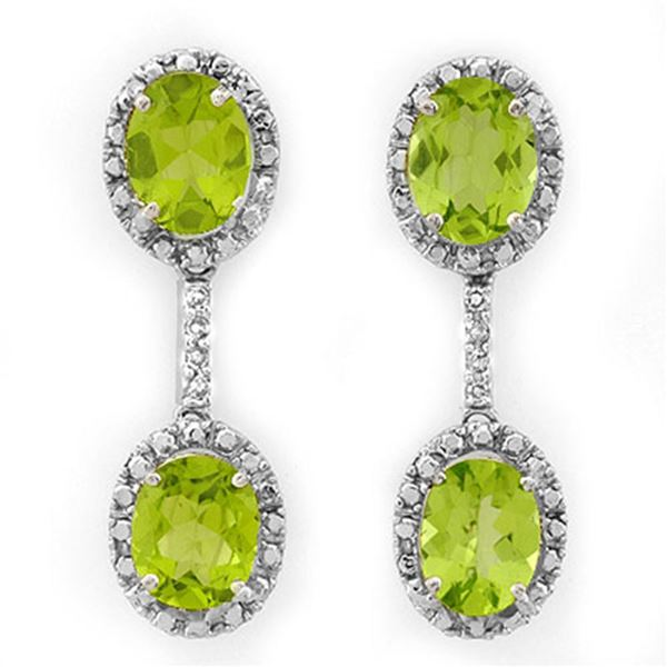 8.10 ctw Peridot & Diamond Earrings 10k White Gold - REF-52K8Y
