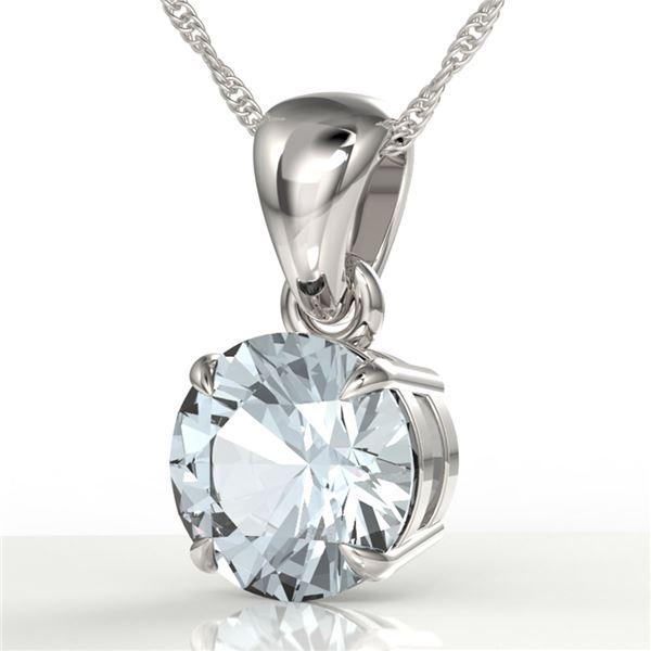 2 ctw Aquamarine Designer Necklace 18k White Gold - REF-34H3R