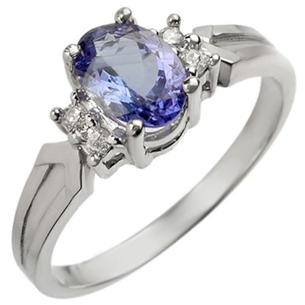 1.10 ctw Tanzanite & Diamond Ring 18k White Gold - REF-27H3R