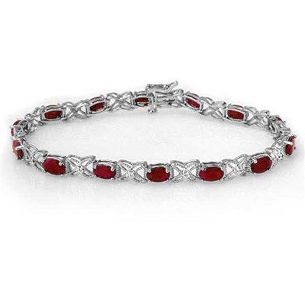 8.55 ctw Ruby & Diamond Bracelet 14k White Gold - REF-105F5M