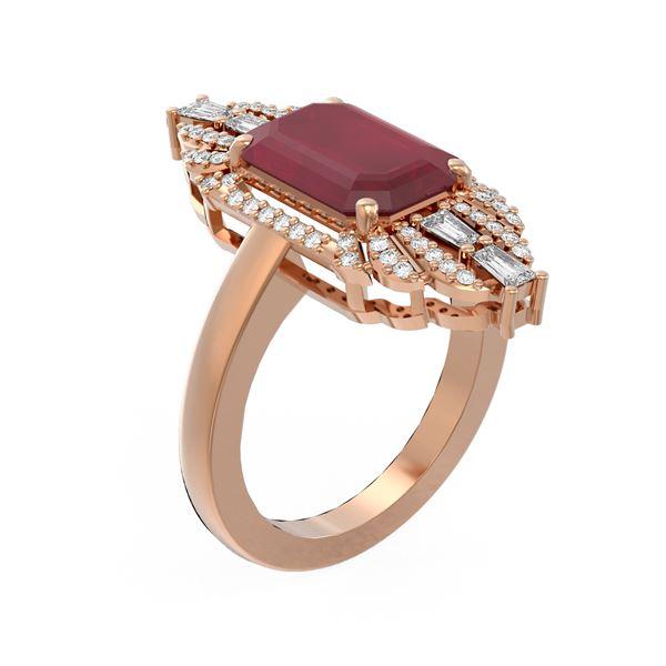 6.52 ctw Ruby & Diamond Ring 18K Rose Gold - REF-178R2K