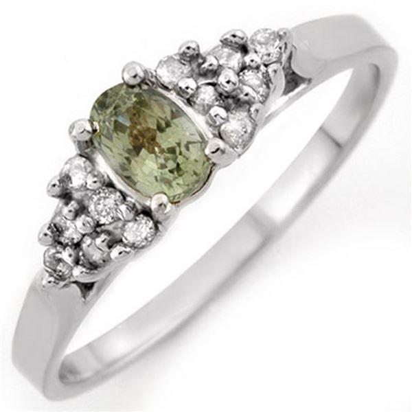 0.74 ctw Green Sapphire & Diamond Ring 10k White Gold - REF-15R5K