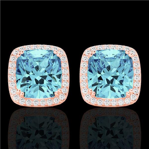 6.50 ctw Sky Blue Topaz & Micro VS/SI Diamond Earrings 14k Rose Gold - REF-50X2A
