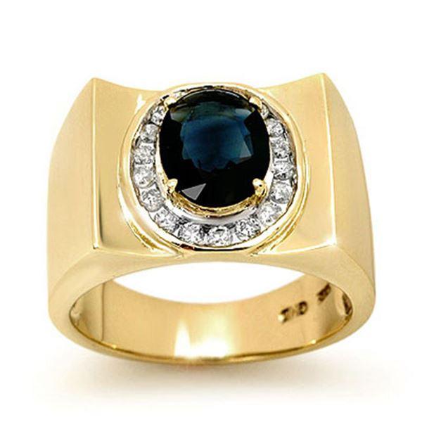 2.33 ctw Blue Sapphire & Diamond Men's Ring 10k Yellow Gold - REF-43N8F
