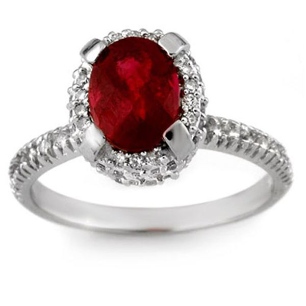 2.60 ctw Rubellite & Diamond Ring 14k White Gold - REF-50X4A