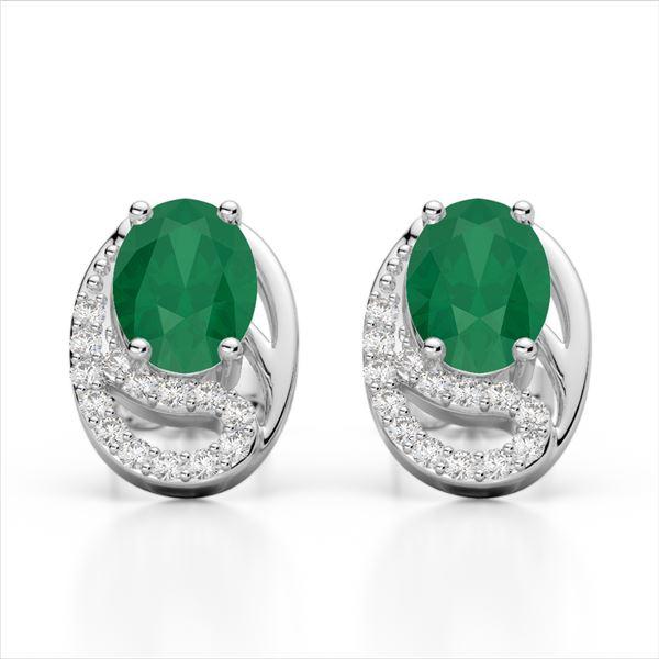 2.50 Emerald & Micro Pave VS/SI Diamond Stud Earrings 10k White Gold - REF-25Y9X