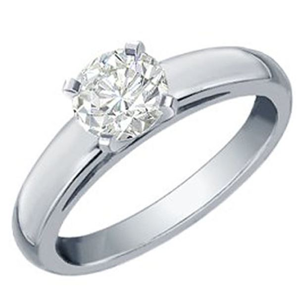 0.60 ctw Certified VS/SI Diamond Solitaire Ring 18k White Gold - REF-129X8A