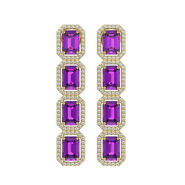 10.73 ctw Amethyst & Diamond Micro Pave Halo Earrings 10k Yellow Gold - REF-147R3K