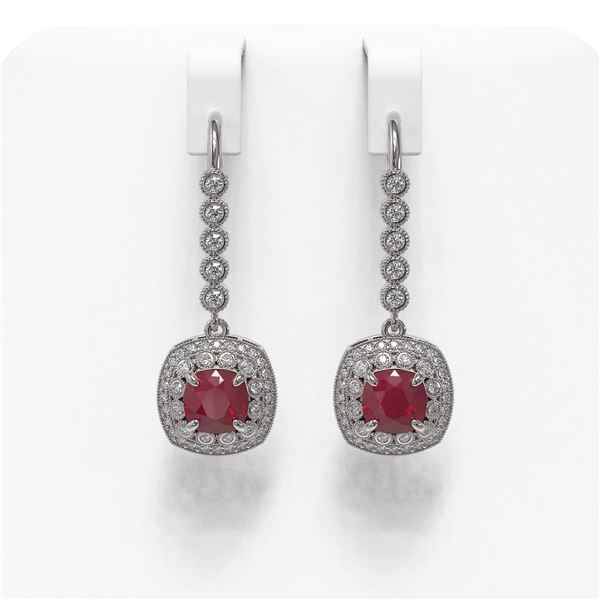 5.1 ctw Certified Ruby & Diamond Victorian Earrings 14K White Gold - REF-172F8M