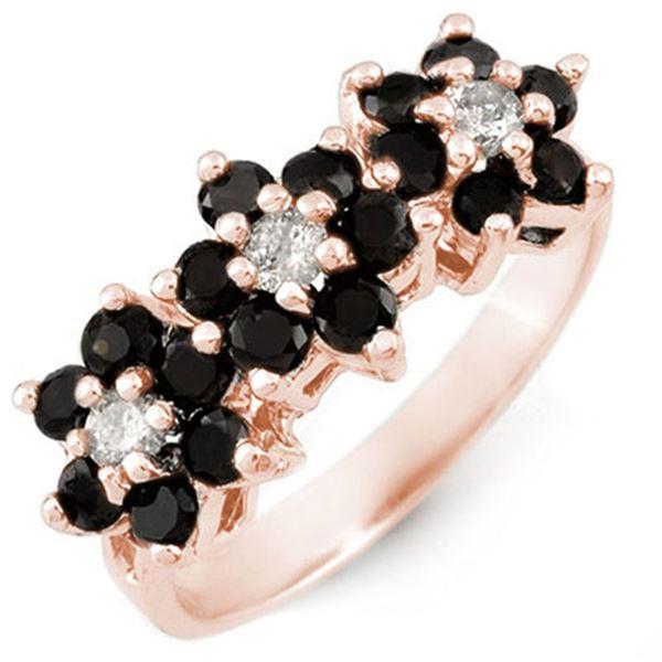 1.25 ctw VS Certified Black & White Diamond Ring 18k Rose Gold - REF-73A6N