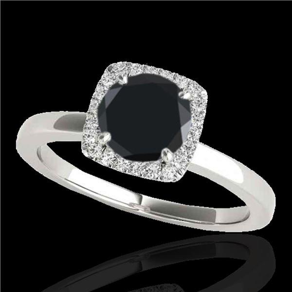 1.15 ctw Certified VS Black Diamond Solitaire Halo Ring 10k White Gold - REF-32M8G