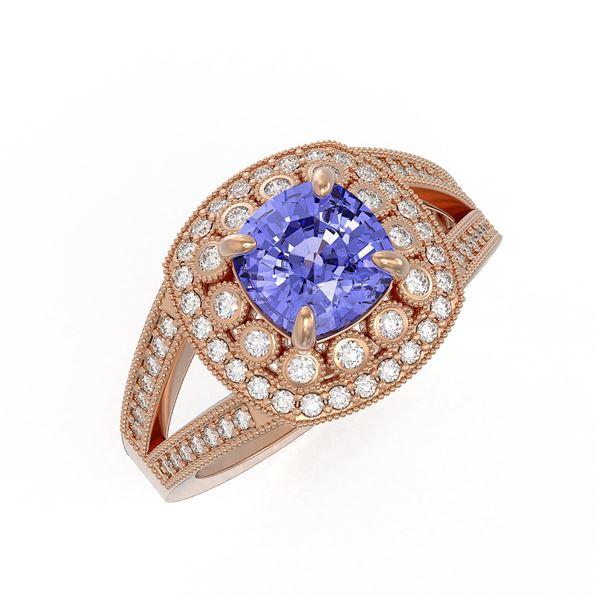 2.74 ctw Certified Tanzanite & Diamond Victorian Ring 14K Rose Gold - REF-101H8R