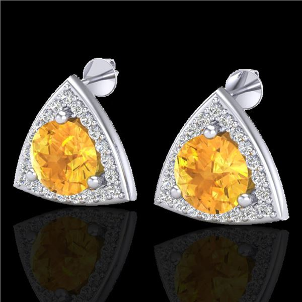 3 ctw Citrine & Micro Pave VS/SI Diamond Stud Earrings 18k White Gold - REF-48G6W