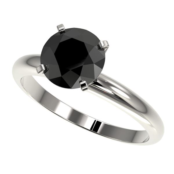 2.09 ctw Fancy Black Diamond Solitaire Engagment Ring 10k White Gold - REF-35A6N