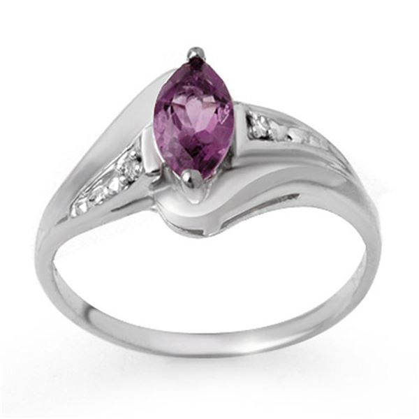 0.37 ctw Amethyst & Diamond Ring 18k White Gold - REF-19G5W