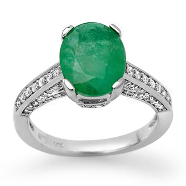 3.20 ctw Emerald & Diamond Ring 18k White Gold - REF-94F5M