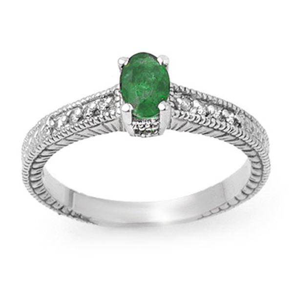 0.76 ctw Emerald & Diamond Ring 18k White Gold - REF-32M8G