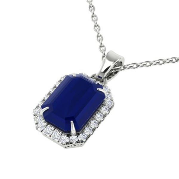 5.50 ctw Sapphire & Micro Pave VS/SI Diamond Necklace 18k White Gold - REF-54F3M