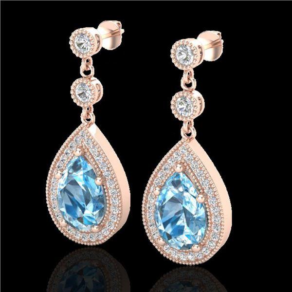 7.50 ctw Sky Topaz & Micro Pave VS/SI Diamond Earrings 14k Rose Gold - REF-55K2Y