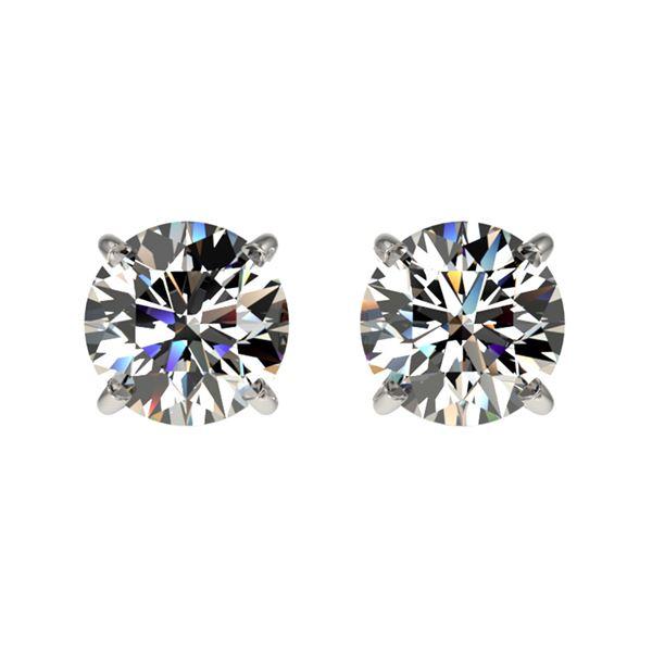 1.09 ctw Certified Quality Diamond Stud Earrings 10k White Gold - REF-72M3G