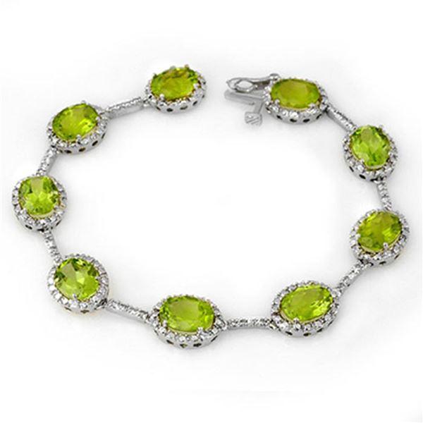 20.33 ctw Peridot & Diamond Bracelet 10k White Gold - REF-103G3W