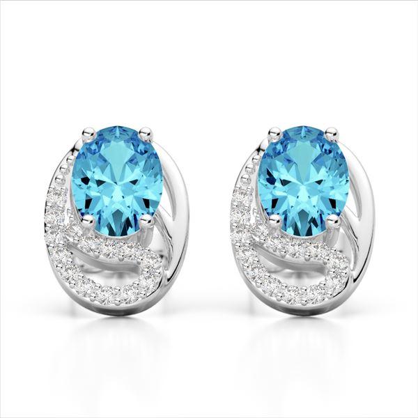 2.50 Sky Blue Topaz & Micro Pave VS/SI Diamond Earrings 10k White Gold - REF-25W9H