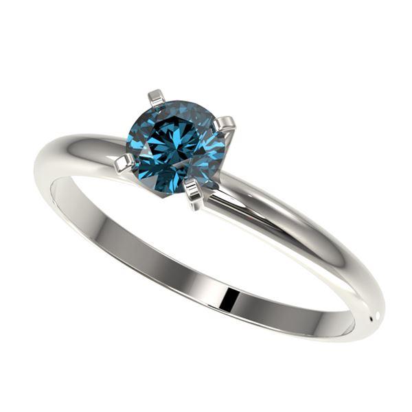 0.50 ctw Certified Intense Blue Diamond Engagment Ring 10k White Gold - REF-47H9R