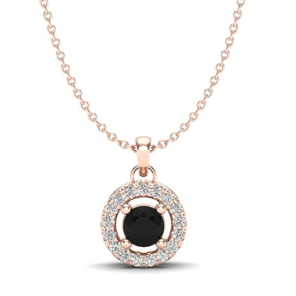 0.38 ctw VS/SI Diamond Micro Pave Necklace Halo 14k Rose Gold - REF-20A8N