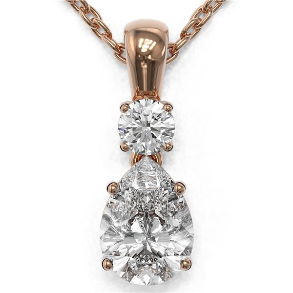 0.9 ctw Pear Cut Diamond Designer Necklace 18K Rose Gold - REF-139A2N