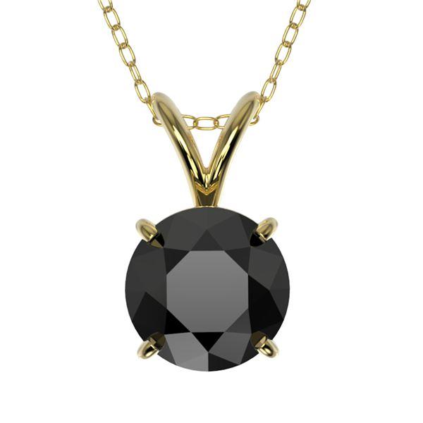 1 ctw Fancy Black Diamond Solitaire Necklace 10k Yellow Gold - REF-21G5W