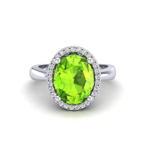 2.50 ctw Peridot & Micro Pave VS/SI Diamond Ring 18k White Gold - REF-42K4Y
