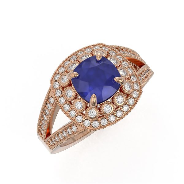 2.69 ctw Certified Sapphire & Diamond Victorian Ring 14K Rose Gold - REF-99A3N