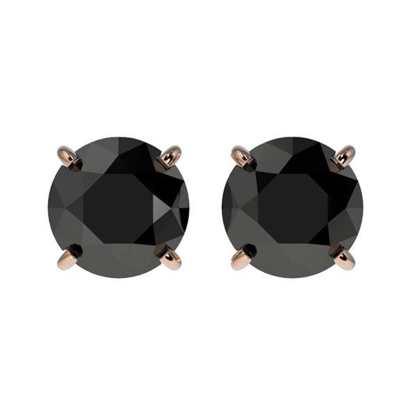 1.50 ctw Fancy Black Diamond Solitaire Stud Earrings 10k Rose Gold - REF-31F3M