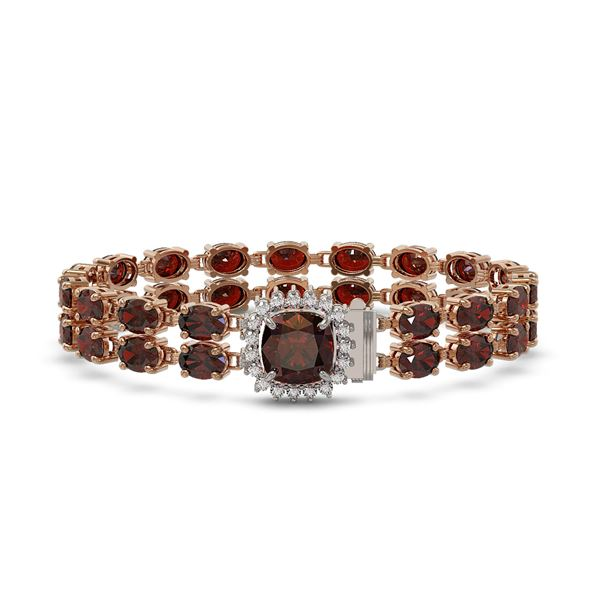 14.98 ctw Garnet & Diamond Bracelet 14K Rose Gold - REF-178X2A