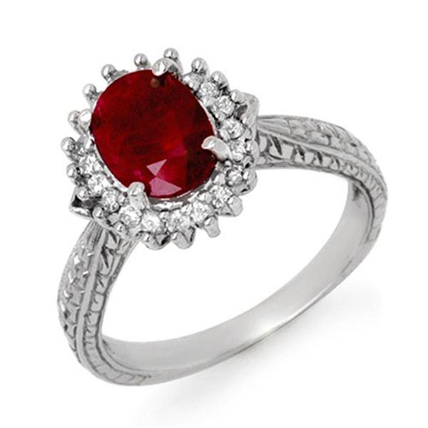 2.75 ctw Ruby & Diamond Ring 18k White Gold - REF-103K6Y