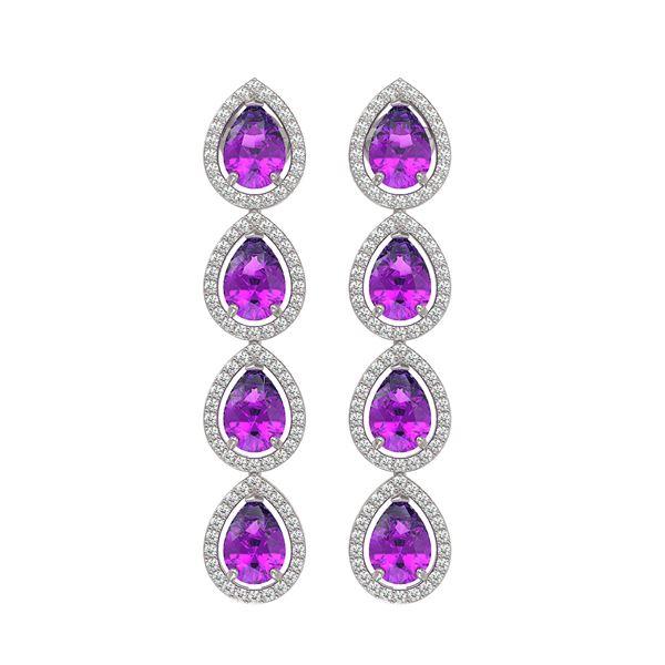 7.85 ctw Amethyst & Diamond Micro Pave Halo Earrings 10k White Gold - REF-152N8F