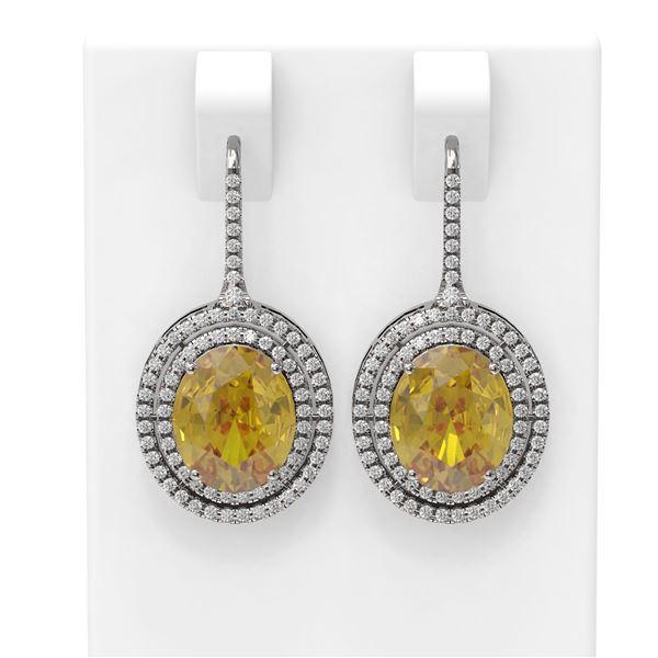 8.23 ctw Canary Citrine & Diamond Earrings 18K White Gold - REF-245K5Y
