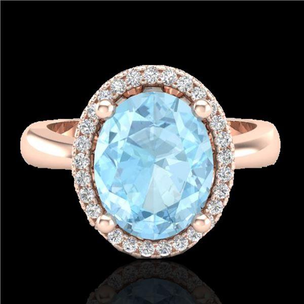 2.50 ctw Aquamarine & Micro Pave VS/SI Diamond Ring 14k Rose Gold - REF-41X4A