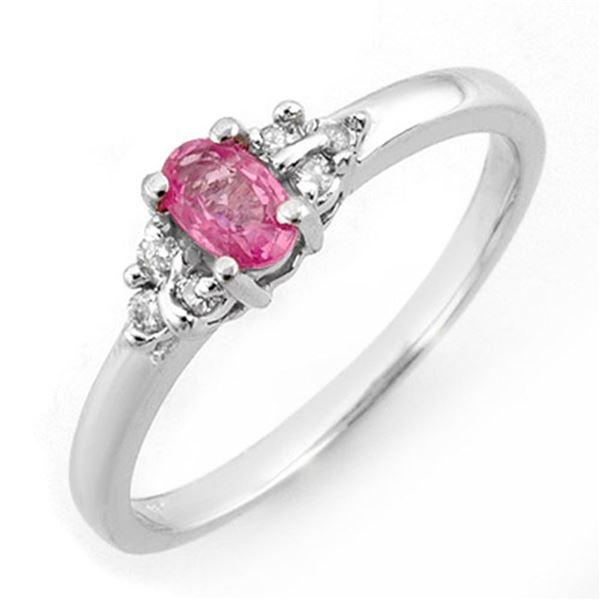 0.44 ctw Pink Sapphire & Diamond Ring 10k White Gold - REF-13R6K