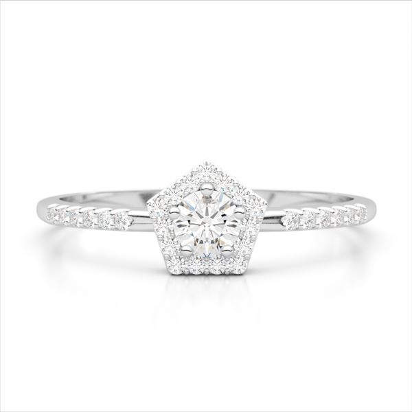 40 ctw Micro Pave VS/SI Diamond Halo Solitaire Ring 18k White Gold - REF-38A2N