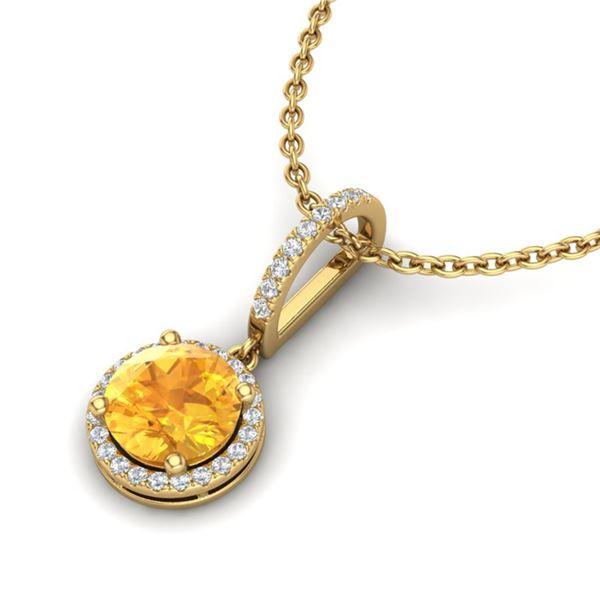 2 ctw Citrine & Micro Pave VS/SI Diamond Necklace 18k Yellow Gold - REF-42G4W