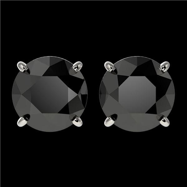 2.60 ctw Fancy Black Diamond Solitaire Stud Earrings 10k White Gold - REF-43H2R