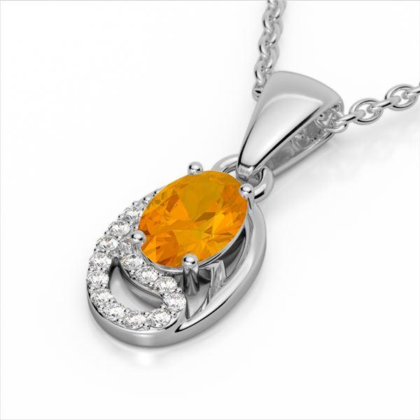 1.25 ctw Citrine & Micro Pave VS/SI Diamond Necklace 10k White Gold - REF-18X4A