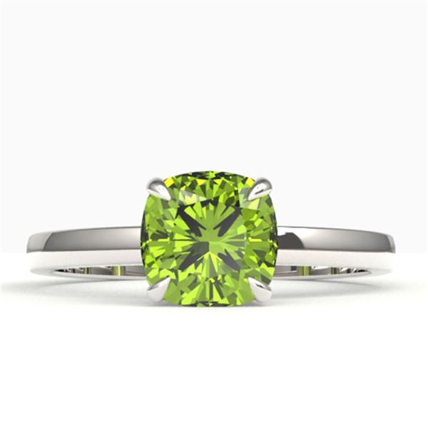 2 ctw Cushion Cut Peridot Solitaire Engagment Ring 18k White Gold - REF-25M9G
